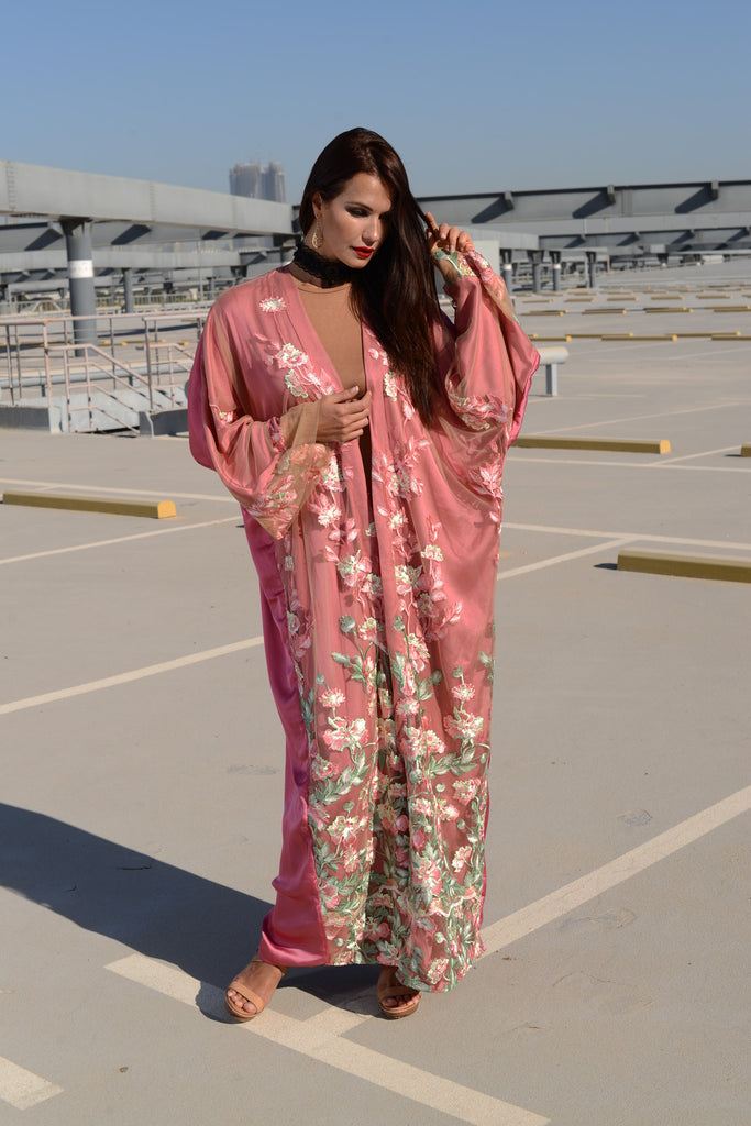 She's in Love: Dusty Pink Kimono Abaya