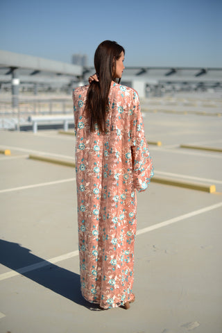 She's in Love: Peach Leaves Kimono Abaya
