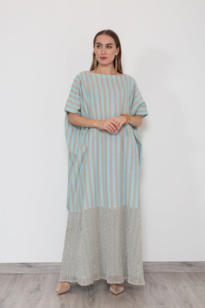 Icy Blue and Gold Kaftan
