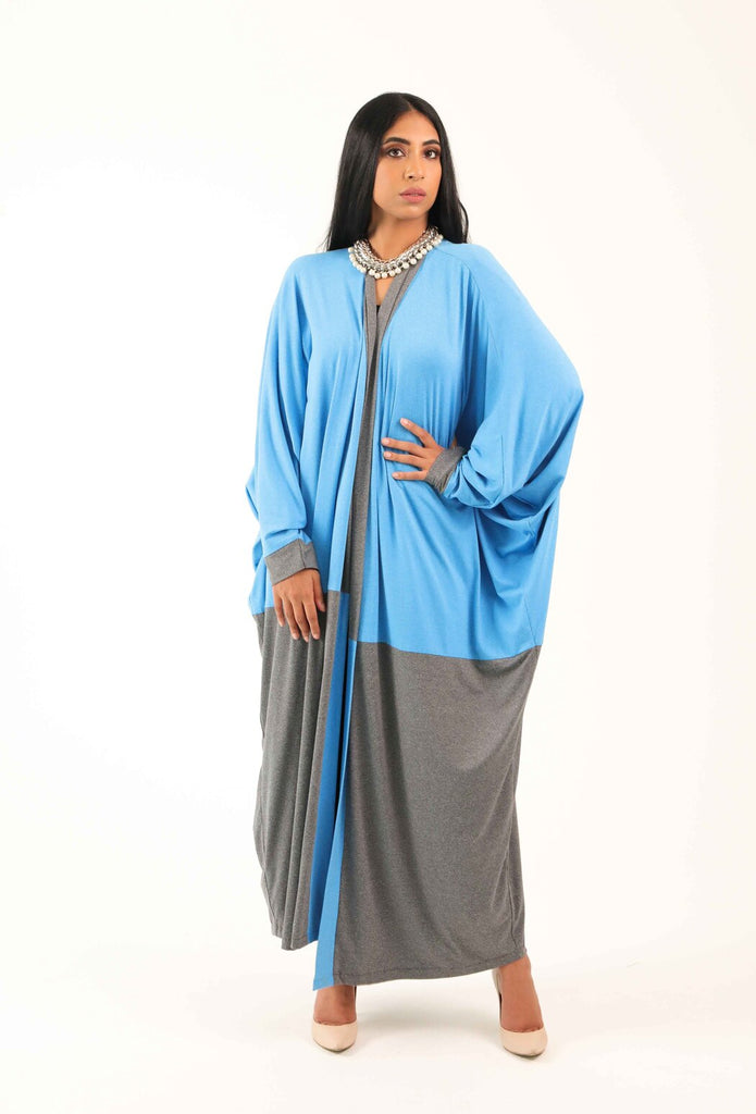 It's Grey and Blue Kimono Abaya