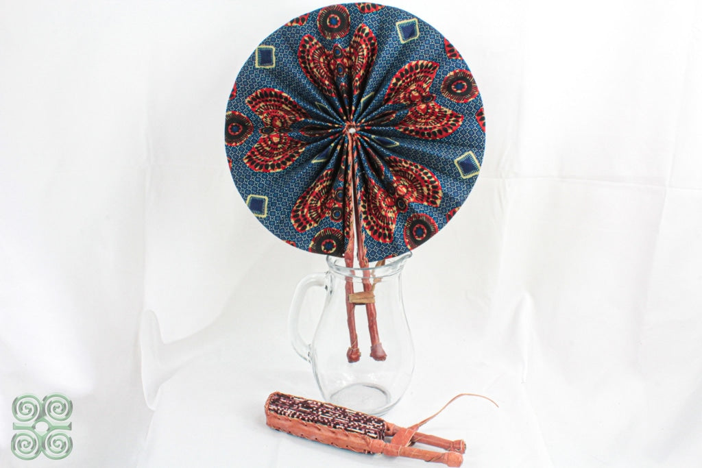 African Fabric Fans Blue And Rust Fan