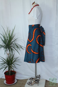 Dark Teal with Orange Swirls