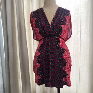 Olian Red Patterned Short Sleeve Top Size XS
