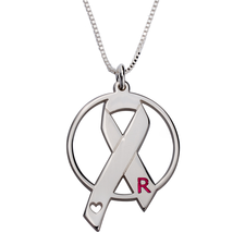 Breast Cancer Awareness Engraved Letter Necklace