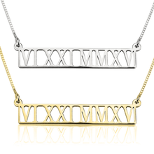 Load image into Gallery viewer, Roman Numeral Cut Out Necklace