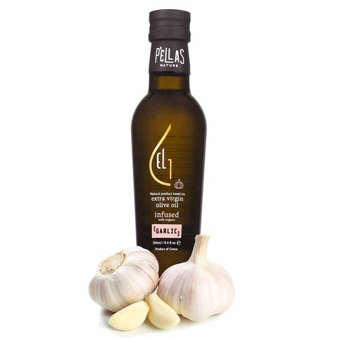Pellas Nature Fresh Organic Garlic Infused Extra Virgin Olive Oil | 8.45 oz Bottle