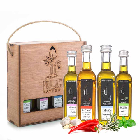 Organic Herb Infused Extra Virgin Olive Oil | Wooden Gift Set | 4 X 1.7oz Bottles