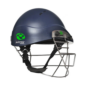 Ayrtek Cricket PremierTek Youth Cricket Helmet Steel (Blue) - The Cricket Store