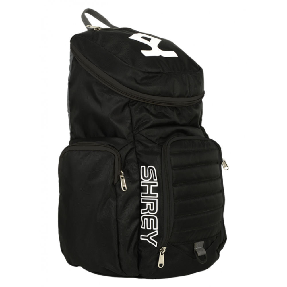 Shrey Black Rucksack Bag - The Cricket Store (Front)