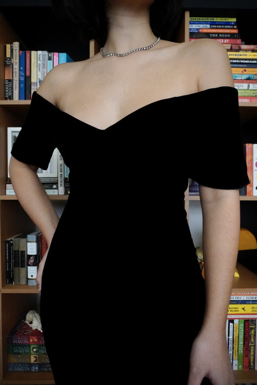 Off-the-Shoulder Black Velvet Dress