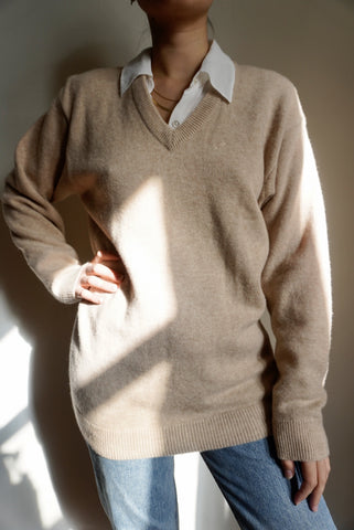 Camel Lambswool V-Neck Sweater