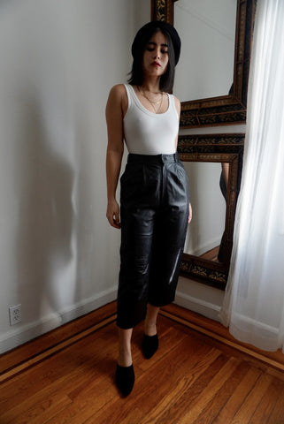1970's Italian Leather Crop Trousers, 27-28W
