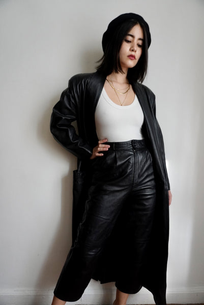 Full Length Black Leather Trench