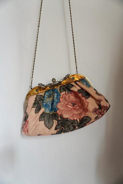 Faux Tortoise Floral Beaded Bag