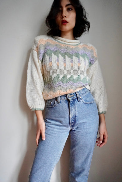 Hand Knitted Roll Collar Sweater