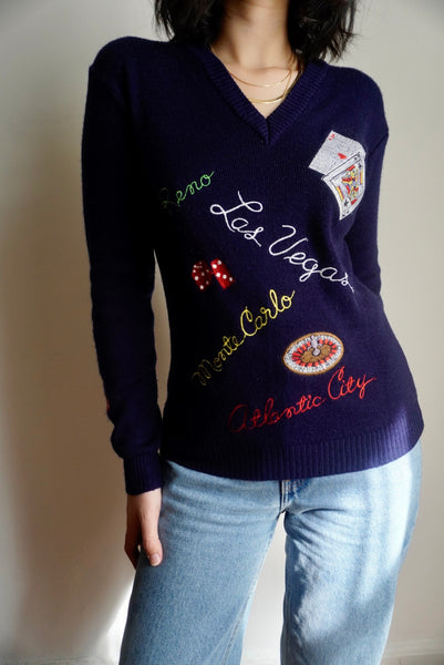 Embroidered Casino Sweater