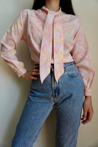 Tie Neck Pink Blouse