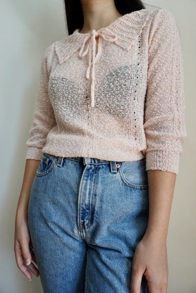 Pale Pink Tie-Collar Knit