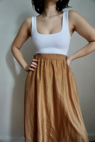 Copper Silk Midi Skirt, 26-29W