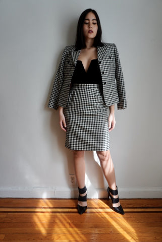 Checked Skirt Suit Set, 25-26W