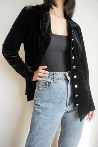 Black Velvet Shirt Jacket