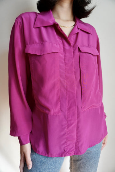 Fuschia Oversized Pocket Blouse