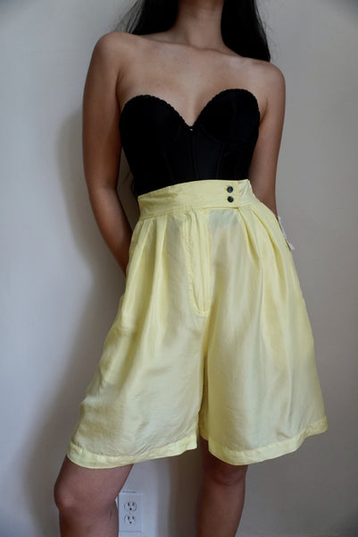 Neon Yellow Silk Shorts (NWT)