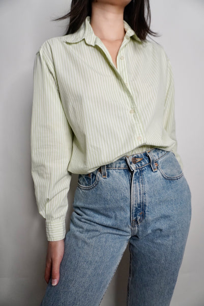Green Stripe Cotton Blouse