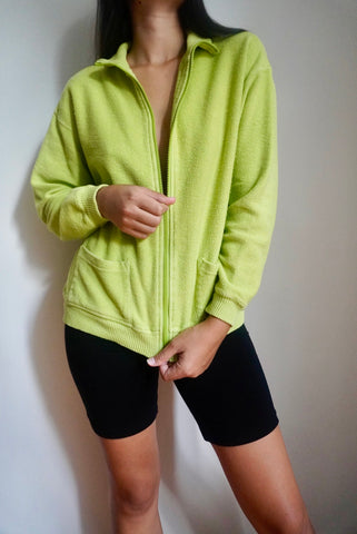 Bright Green Cotton Zip Up