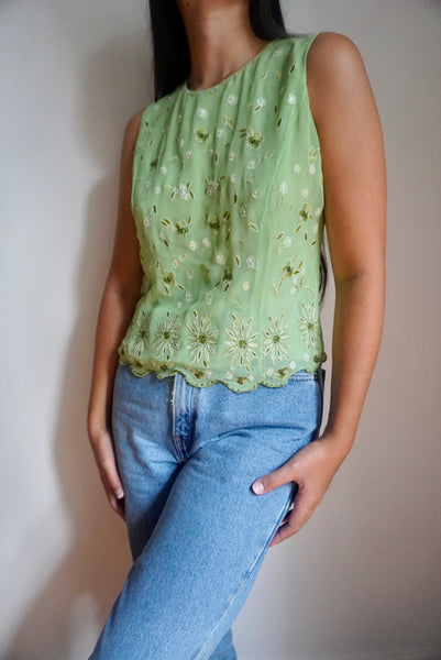 Embellished Green Silk Tank