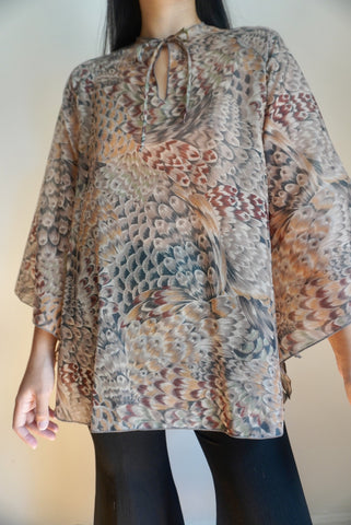 Sheer Feather Print Tunic