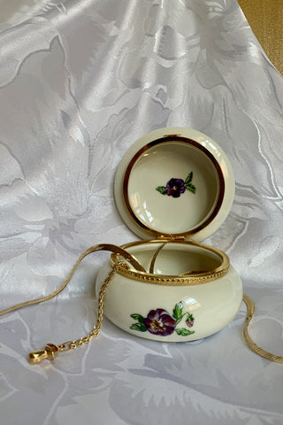 Pansy Lidded Trinket Container