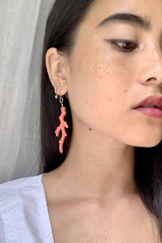 Faux Coral Earrings
