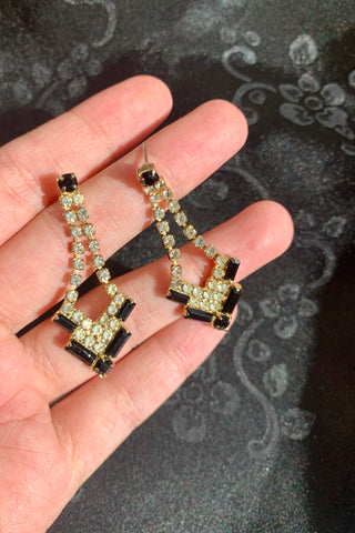 Art Deco Style Rhinestone Earrings