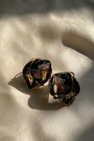 Floral Cloisonné Clip On Earrings