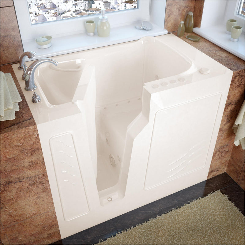MediTub 2646LBD Walk-In 26 x 46 Left Drain Biscuit Whirlpool & Air Jetted Walk-In Bathtub - homeconvex