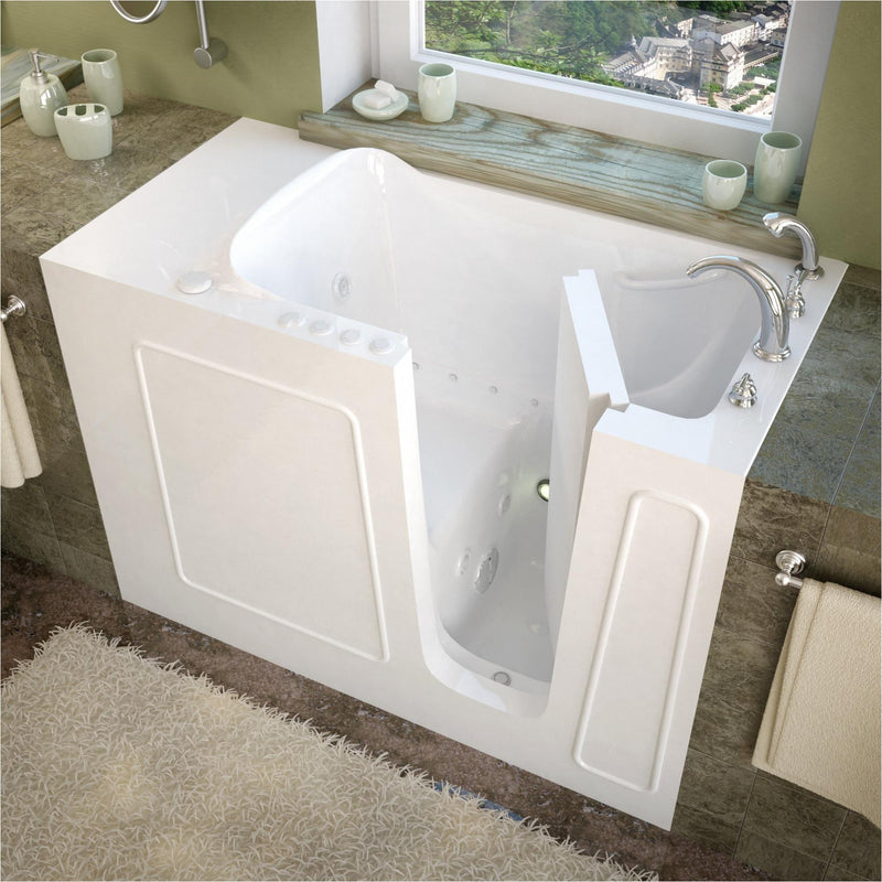 MediTub 2653RWD Walk-In 26 x 53 Right Drain White Whirlpool & Air Jetted Walk-In Bathtub - homeconvex