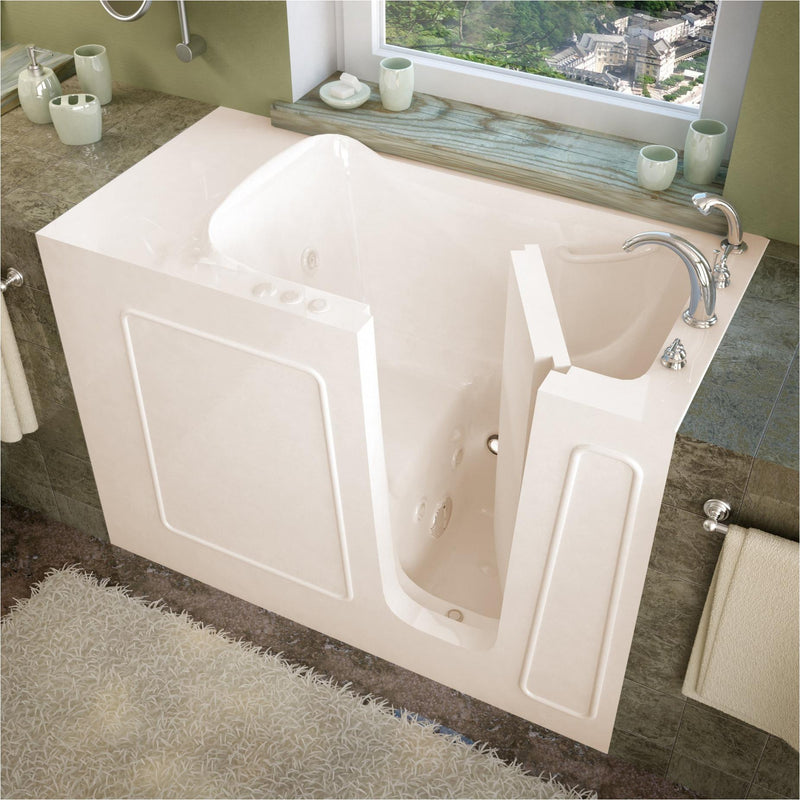 MediTub 2653RBH Walk-In 26 x 53 Right Drain Biscuit Whirlpool Jetted Walk-In Bathtub - homeconvex