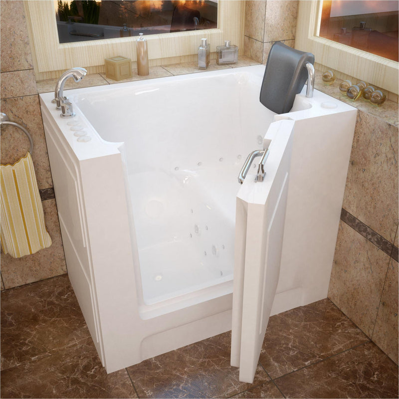 MediTub 2739LWD Walk-In 27 x 39 Left Drain White Whirlpool & Air Jetted Walk-In Bathtub - homeconvex