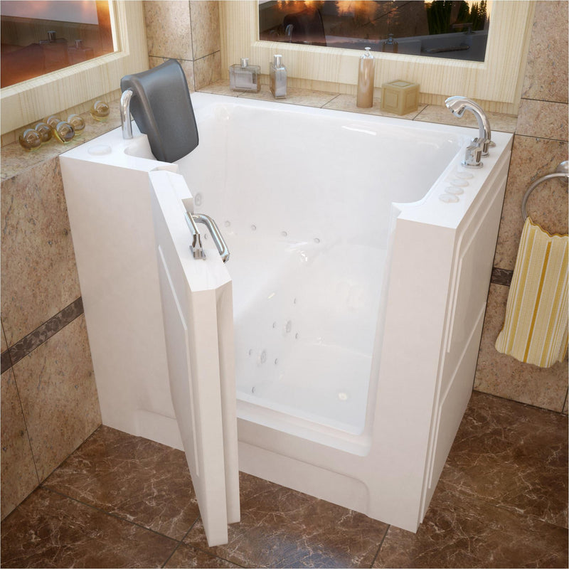 MediTub 2739RWD Walk-In 27 x 39 Right Drain White Whirlpool & Air Jetted Walk-In Bathtub - homeconvex