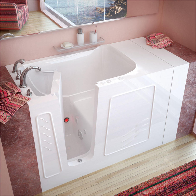 MediTub 3053LWH Walk-In 30 x 53 Left Drain White Whirlpool Jetted Walk-In Bathtub - homeconvex