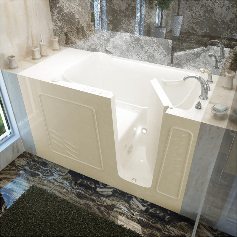 MediTub 3060WIRBD Walk-In 30 x 60 Right Drain Biscuit Whirlpool & Air Jetted Walk-In Bathtub - homeconvex