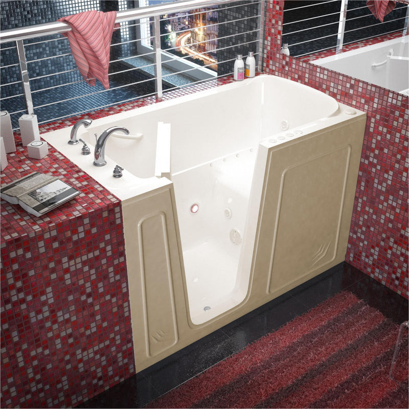 MediTub 3260LBD Walk-In 32 x 60 Left Drain Biscuit Whirlpool & Air Jetted Walk-In Bathtub - homeconvex