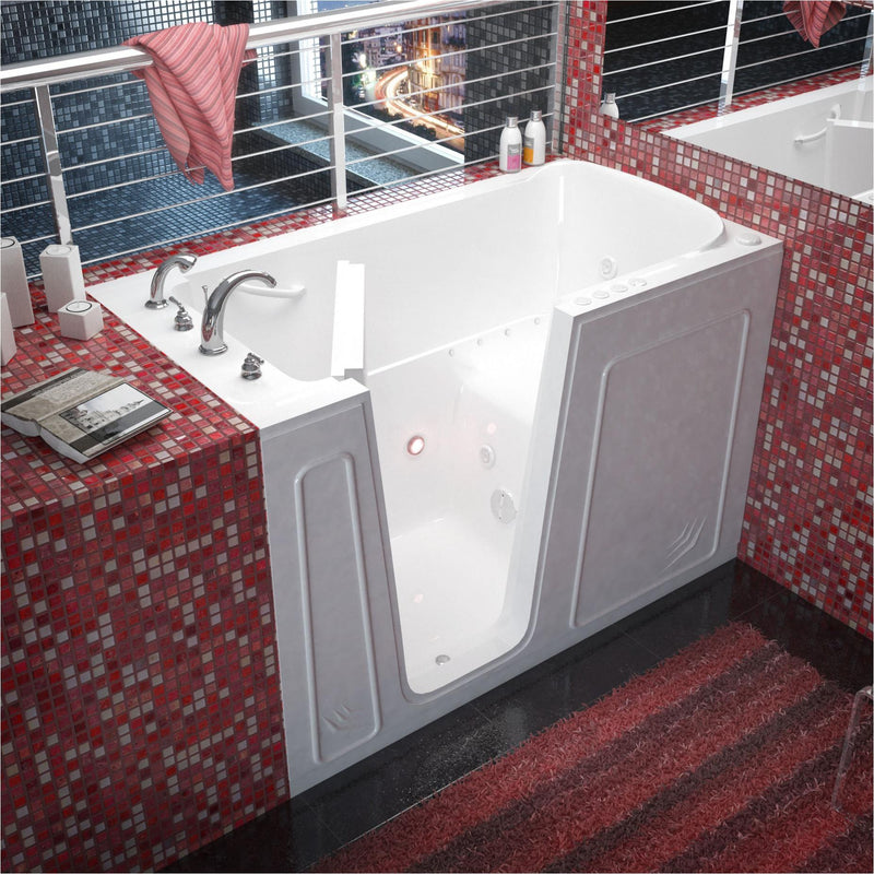 MediTub 3260LWD Walk-In 32 x 60 Left Drain White Whirlpool & Air Jetted Walk-In Bathtub - homeconvex