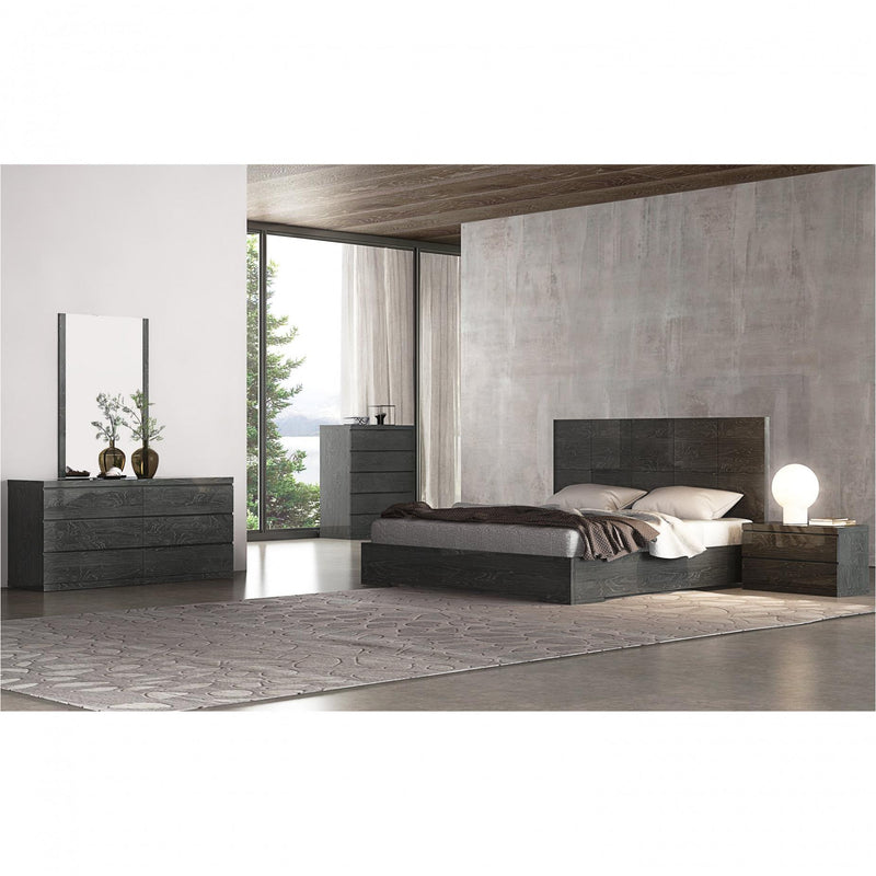 Whiteline Modern Living BK1207 Anna Bed King, High Gloss Gray - homeconvex