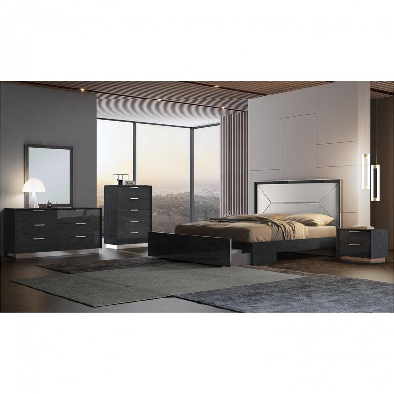Whiteline Modern Living BK1354P Navi Bed King, high gloss grey - homeconvex