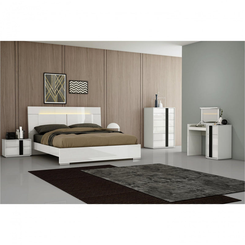 Whiteline Modern Living BK1617 Kimberly Bed King, High Gloss White - homeconvex