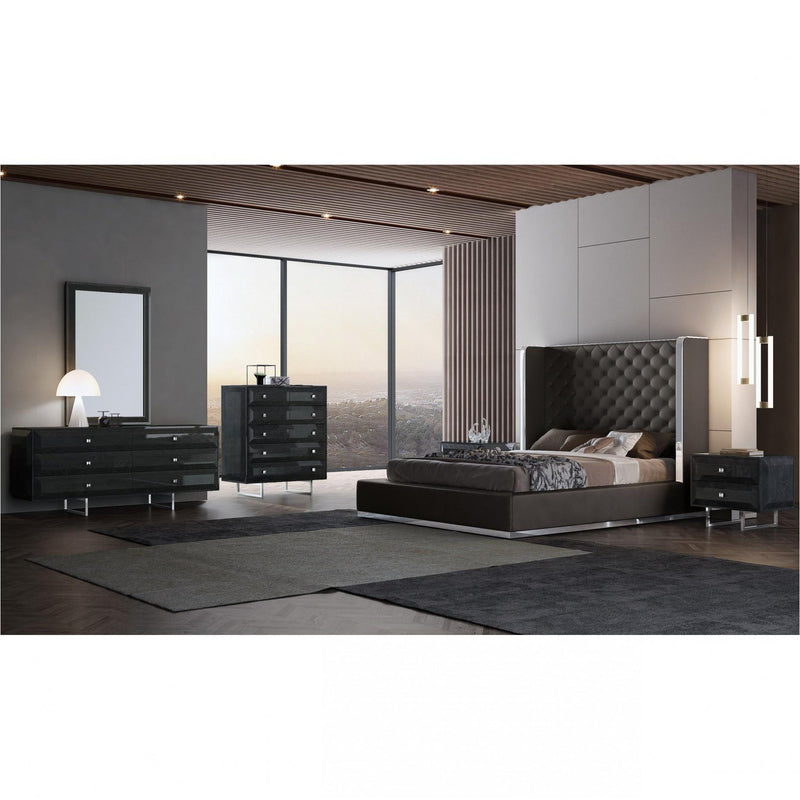 Whiteline Modern Living BQ1356P Abrazo Bed Queen Dark Grey - homeconvex