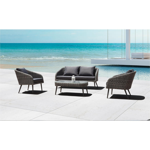 Whiteline Modern Living COL1570 Waverly Indoor/Outdoor Living Collection, Love Seat, 2 Chairs and Coffee Table - homeconvex