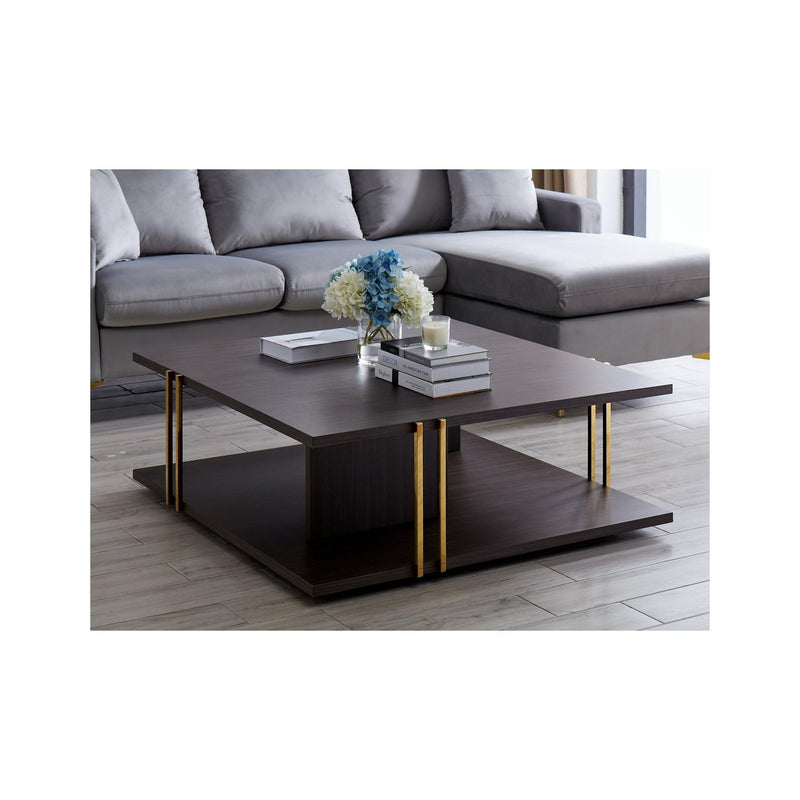 Whiteline Modern Living CT1645 Evelyn Square Coffee Table Wengee Veneer and Gold - homeconvex